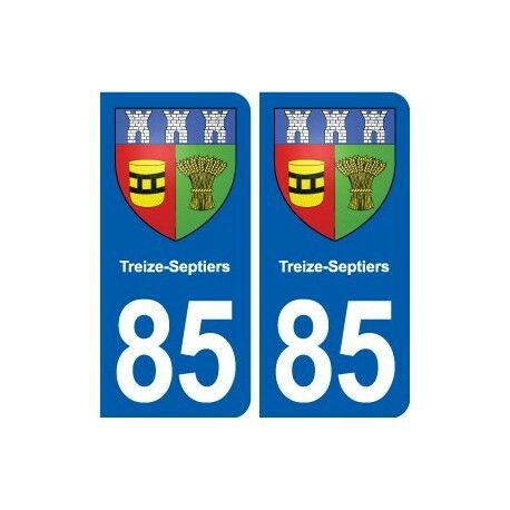 85 Treize-Septiers blason autocollant plaque stickers ville arrondis