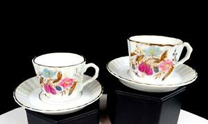 "ENGLISH PORCELAIN TWO PINK BLUE FLORAL RIBBED 2"" DEMITASSE CUP & SAUCER SETS"