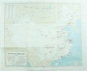 Map Of Asia 1960.Details About Vintage Population Of Urban Areas 1960 China Asia 12 Map