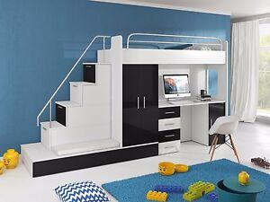 Tomi Hochbett Mit Schrank Schreibtisch Treppe Und Gästebett In