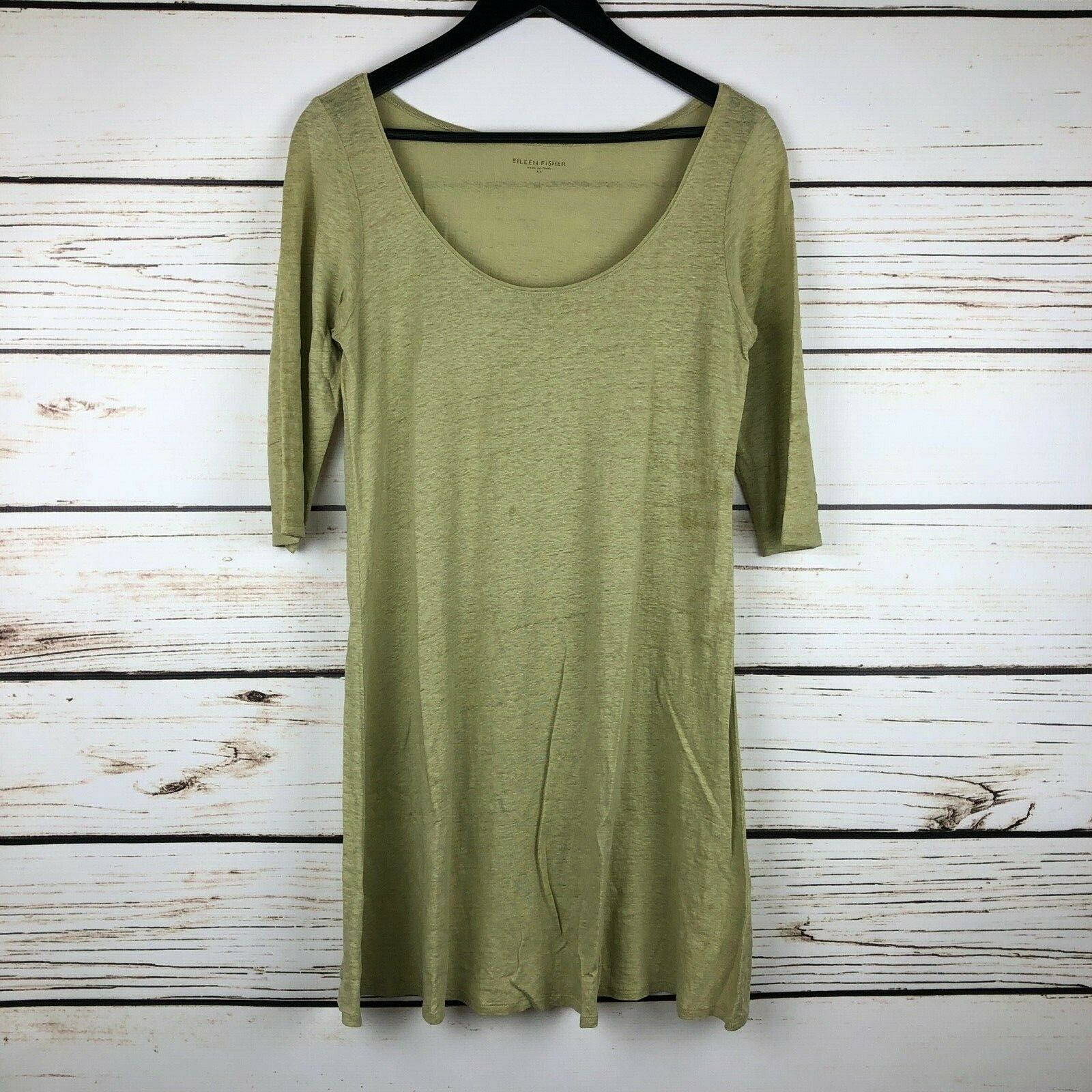Eileen Fisher Dress 100% Linen 3/4 Sleeve Scoop Neck Olive Green Size XS