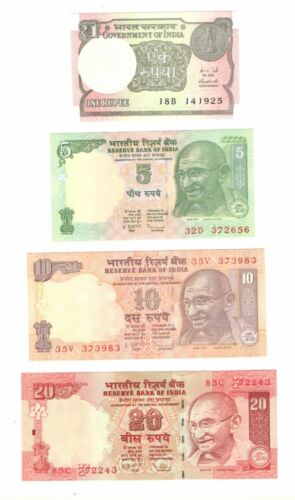 India 4 DIFFERENT 1-5-10-20 RUPEES NOTES  4 BANKNOTES COLLECTIBLE NOTES UNC