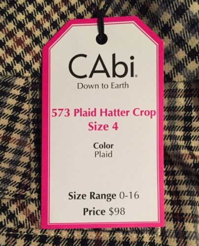 Crop til Pant Cuffed Ned 573 4 Cabi Plaid Stretch jorden Nwt Hatter qOx4EY
