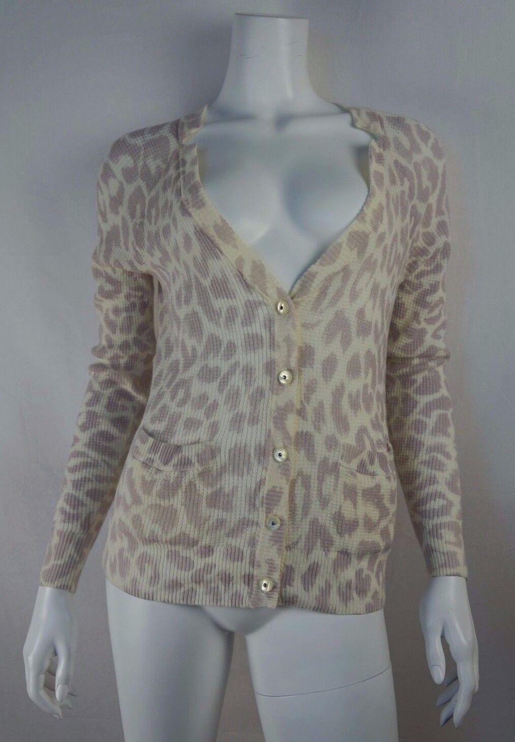 REBECCA TAYLOR Ivory Ivory Ivory Purple Leopard Print Cardigan Sweater - size M 5cdecf