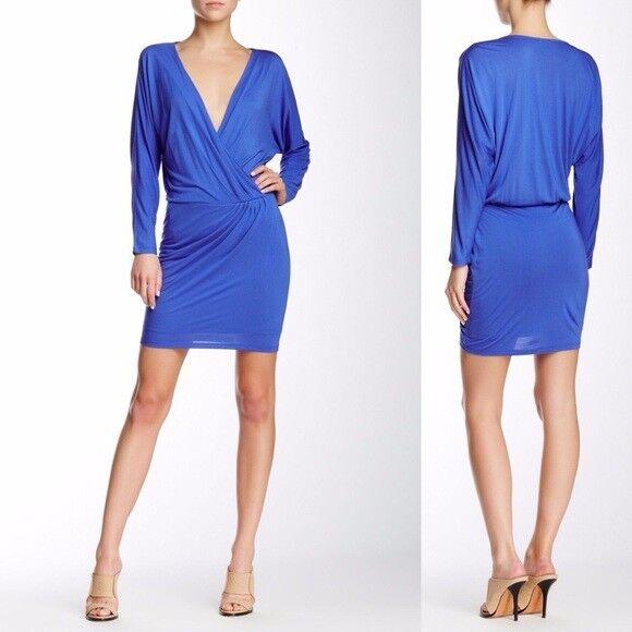 NEW NWT  Haute Hippie • Cobalt bluee Wrap Dress Long Sleeve Sz M Medium
