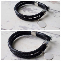 Men's Personalised Leather Bracelet - Choice Of Silver Charm - Free Engraving