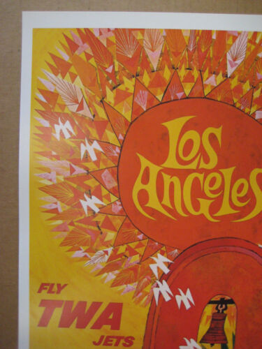 """11/"""" x 17/"""" Collector/'s Travel Poster Print B2G1 TWA  Airlines LOS ANGELES"""