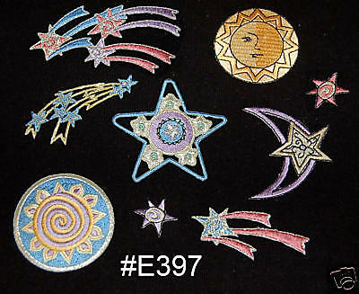 """#2717 3/"""" Embroidery Iron On Moon/&Star Pagan Astrology Applique Patch"""