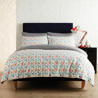 Evolve By Christy Coby Coral Grey Teal Cotton Duvet Quilt Cover Bedding Set
