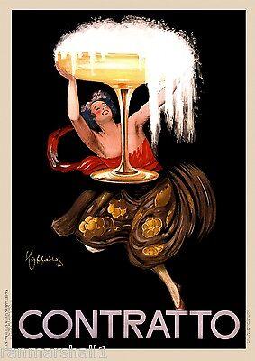Contratto Champagne Wine European Advertisement Art Vintage Poster Print