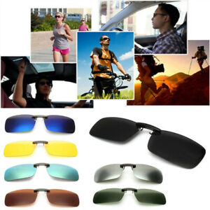 UV400-Sunglasses-Polarized-Clip-On-Flip-up-Driving-Day-Night-Vision-Lens-Glasses