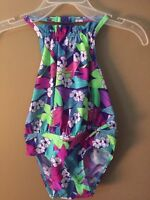 Girls 2t Old Navy Purple Blue Pink Green Print Swim Ruffle Suit 1pc $20