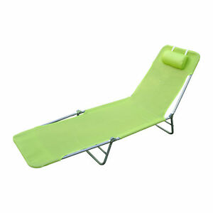 Awesome Details About Foldable Chaise Lounge Adjustable Patio Cot Reclining Beach Chair W Pillow Green Home Remodeling Inspirations Basidirectenergyitoicom