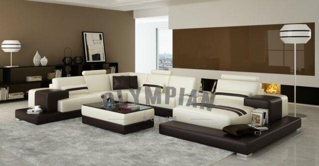 Modern Large LEATHER SOFA Corner Suite NEW Cream Chocolate