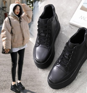 Black-Round-Toe-Women-Wedge-Platform-Sneakers-Lace-Up-Creeper-Muffins-Shoes-Pump