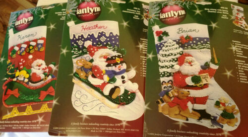Bucilla and Janlynn Felt Christmas Stocking Kits New Old Stock ~ Sealed