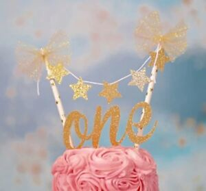 Image Is Loading 1ST BIRTHDAY ONE GOLD GLITTER Amp STAR BUNTING