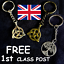 CELTIC TRIQUETRA TRINITY KNOT TREE OF LIFE KEYRING ANTIQUE BRONZE OR SILVER TONE