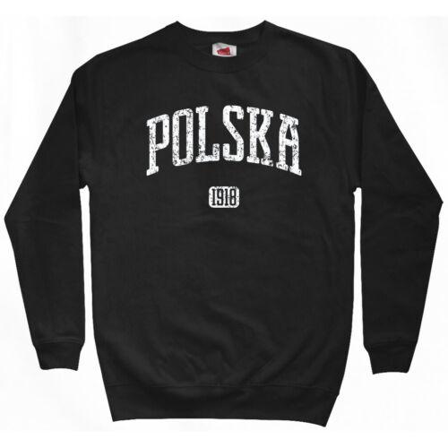 Men S-3XL Polonia Polish Warsaw Lodz Polska 1918 Poland Sweatshirt Crewneck