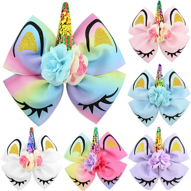 """3/"""" Artificial Flower Glitter Unicorn Horn Hair Bow Hair Clips Hair Accessories"""