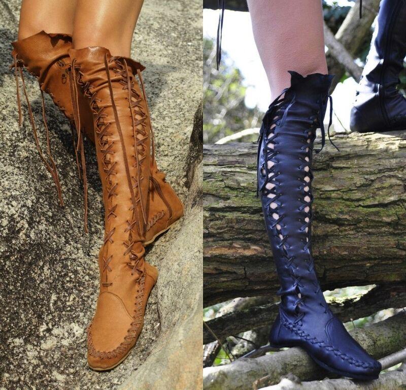 Retro Retro Retro Damen Quaste Kniehohe Stiefel Schuhe Cosplay Freizeit Schnürer Sommer Neu 62f079