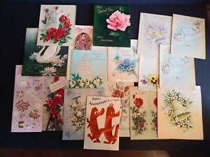 Vintage Greeting Card Lot of 17 Wedding Anniversary Cards Paper Ephemera