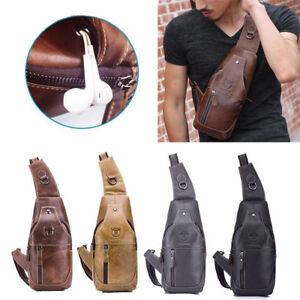 8f6989aeb6 Men s Chest Shoulder Bag Cowhide Leather Sling Bags Crossbody ...