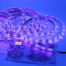 5M 12V 5050SMD Waterproof 395 405nm Ultraviolet UV LED Strip Lamp Black Light US