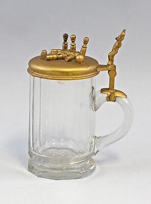 Other Antique Glass Decorative Arts Impartial 8348060 Kegler Beer Mug Um 1900 Glass Beer Tankard
