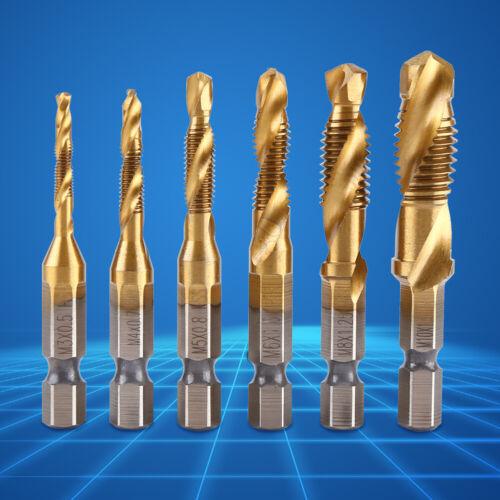 """6pcs Metric Thread M3-M10 Titanium Coated HSS Drill /& Tap Bits 1//4/"""" Hex Shank"""