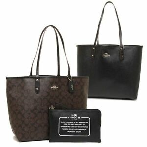 b85ba050 Details about NWT Coach F36658 25033E Signature Reversible PVC City Tote in  Brown Black $350