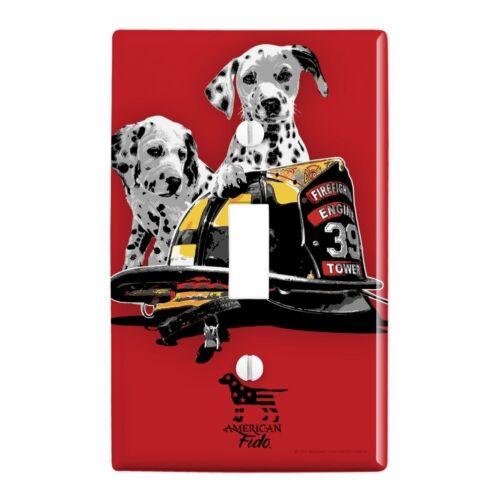 Dalmatian Dogs Firefighter Fire Helmet Wall Light Switch Plate Cover