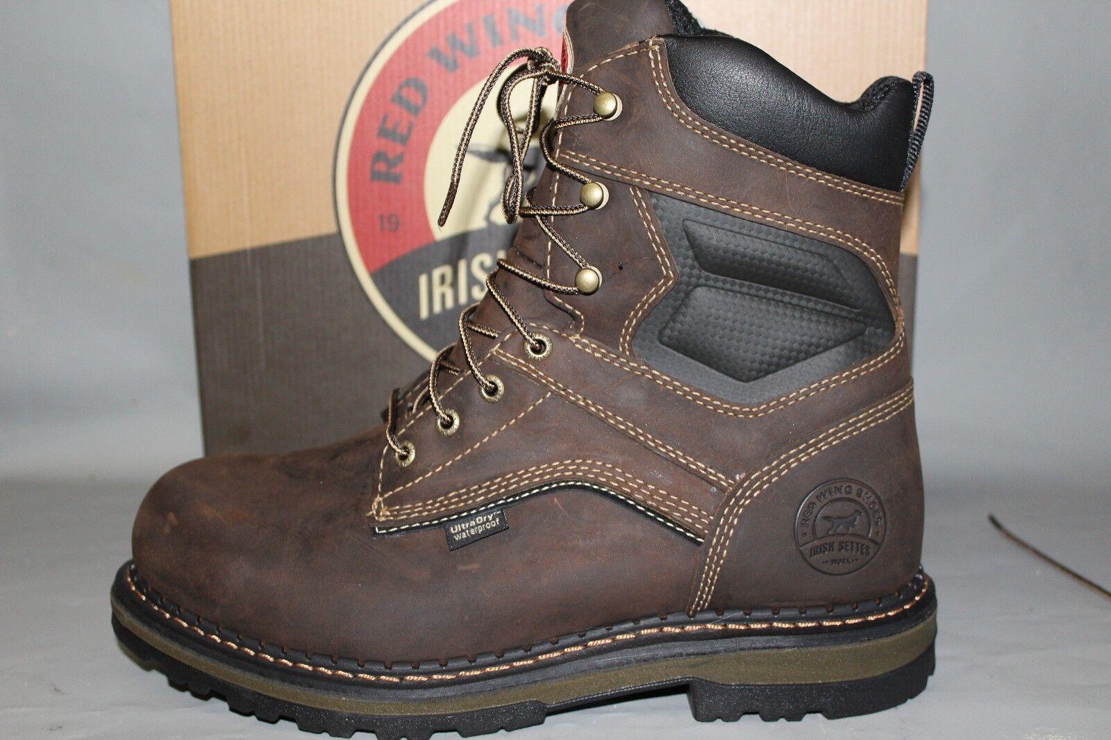 Men's Red Wing Irish Setter Leather 8  Waterproof Soft Toe Work Boot
