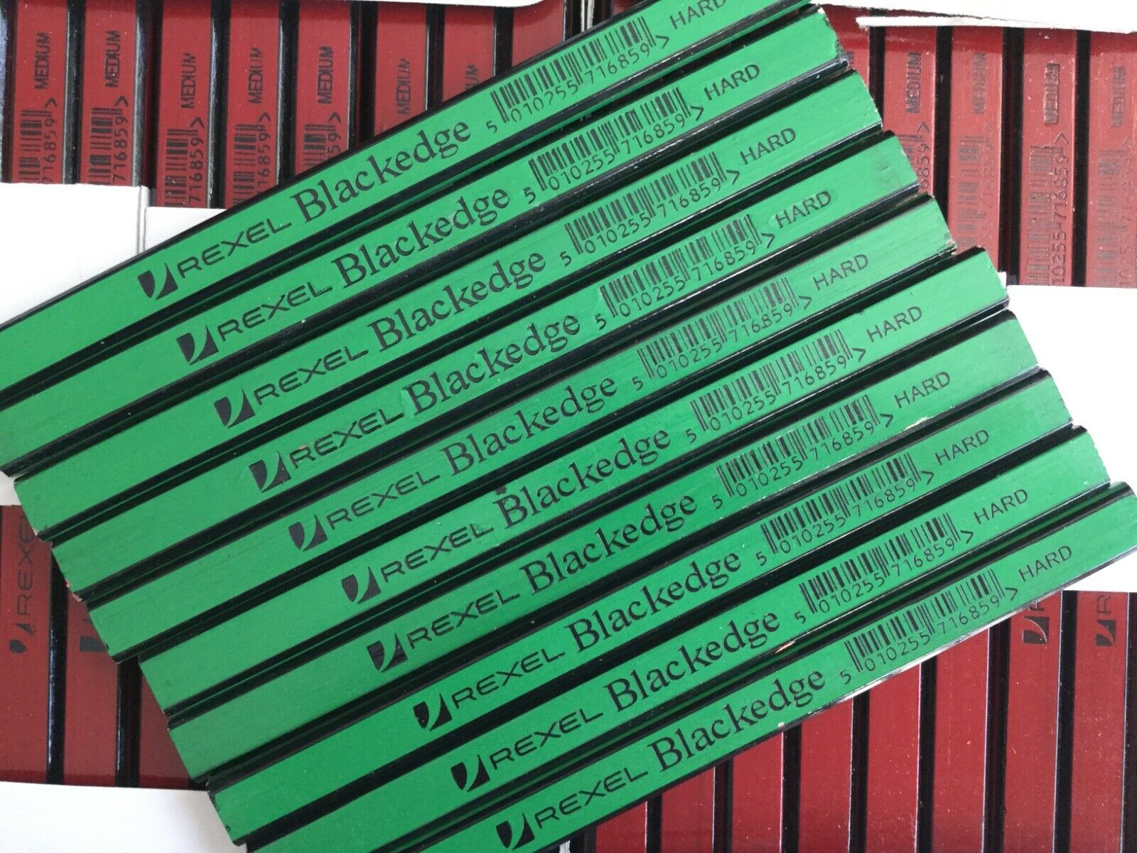 10 X CARPENTERS PENCILS BLACKEDGE REXEL H HARD GREEN wood brick plaster