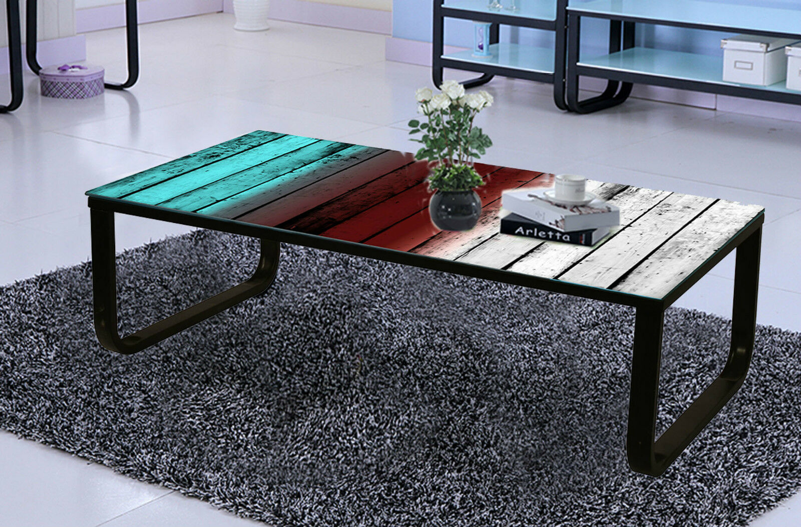 Multi Colour Back Tempered Glass Coffee Table with Black Metal