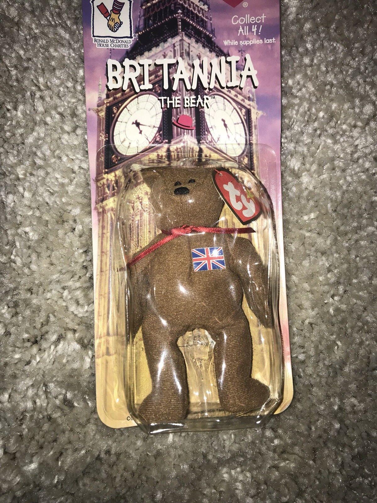Brittania The Bear ERROR Beanie + Rare Rare Rare Vintage Multi color TY Garcia Bear 2c2aad