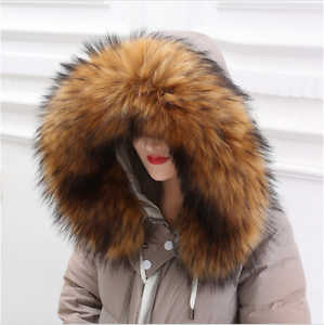 Top-Quality-Real-Raccoon-Fur-Collar-Hood-Trimming-Scarf-Brown-70-14cm