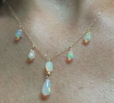 Genuine 4ct Ethiopian fire opal briolette pear pendant necklace solid 14kt gold