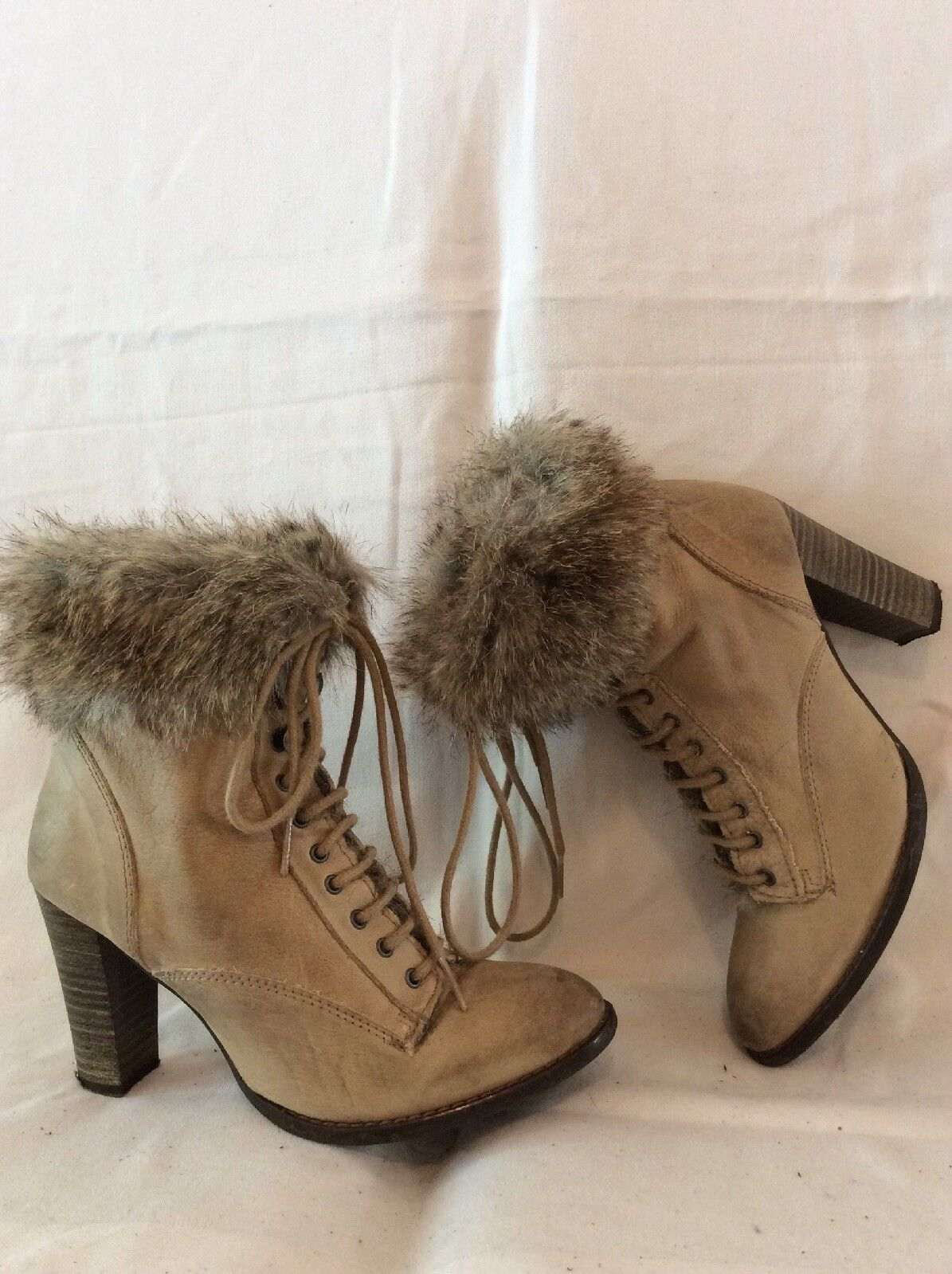 Zara Brown Ankle Leather Boots Size 37