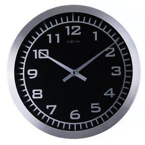 Nextime-Blacky-Wall-Clock-Watch-with-Black-Face-Glass-Aluminium-25cm-2953