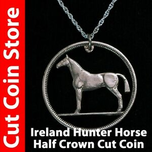 Ireland-Half-Crown-Irish-Hunter-Horse-Necklace-Cut-coin-pre-decimal-2s6d