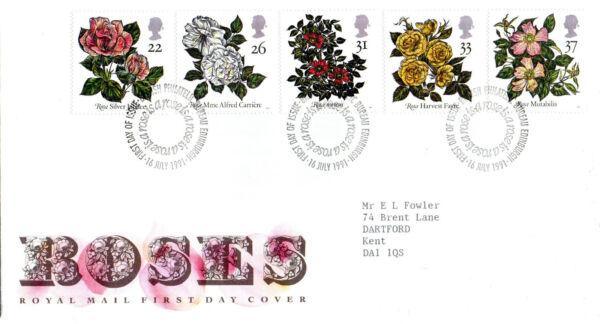 16 Juillet 1991 Roses Royal Mail First Day Cover Bureau Shs à Tout Prix