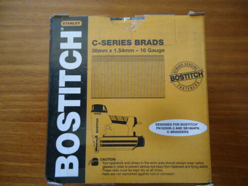 BOSTITCH STANLEY CSERIES BRADS GENUINE 38mm X 1.54MM 16 GAUGE BOX 2500 STRAIGHT