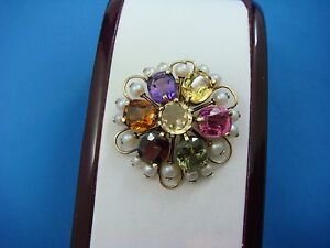 !AMAZING 14K YELLOW GOLD MULTI-COLOR GENUINE STONES AND PEARLS VINTAGE BROOCH