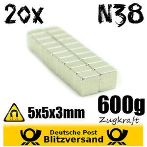 20x Aimant Néodyme Cuboïde 5x5x3mm - Néodyme Magnétique Mini-aimants Forts Zujrlnxb-07224740-589649039