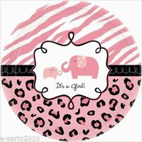 Sweet Safari Girl Small Paper Plates (18) Baby Shower Party Supplies Dinner
