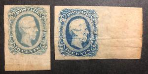 TDStamps: US Confederate States CSA Stamp Scott#12 (2) Mint H OG Crease 2 Shades