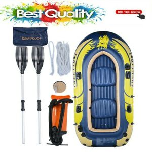Excursion-3-4-Inflatable-Rafting-Fishing-4-Person-Boat-Set-w-Oars-and-Pump