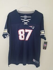 Women-039-s-Majestic-NFL-New-England-Patriots-87-Rob-Gronkowski-V-Neck-Jersey-Shirt