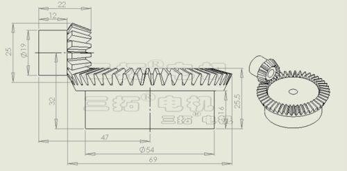 45T Bevel Gear Set 90 Degree Pairing Use Bevel Gear x 1 Set 1.5Mod 15T